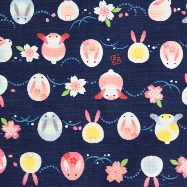 Rabbits and Cherry Blossoms - Deep blue