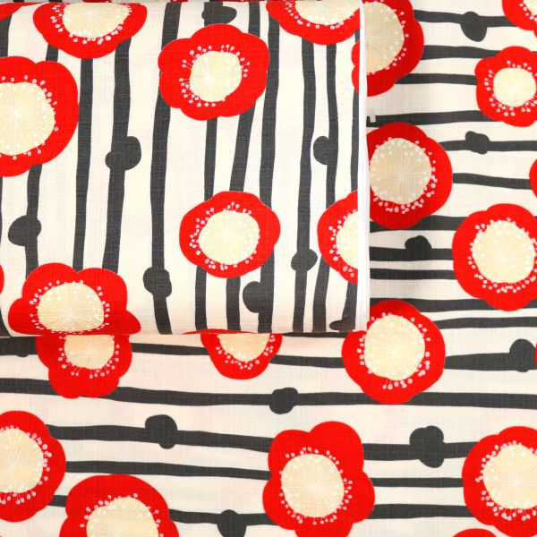 Flowers Striped - Red & Creme