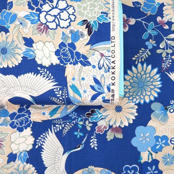 Bright Flowers with Tsuru - Blue