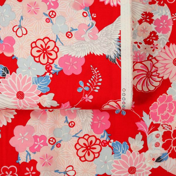 Bright Flowers with Tsuru - Red