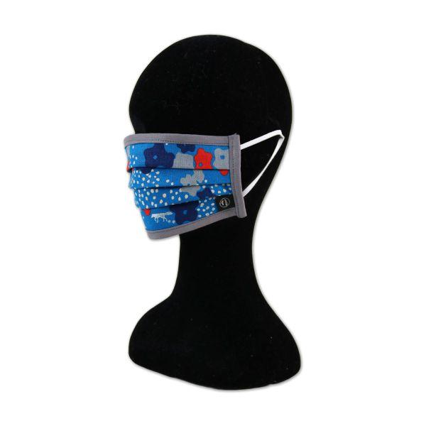 Behelfsmaske - Echino Blue - Mit Gummiband