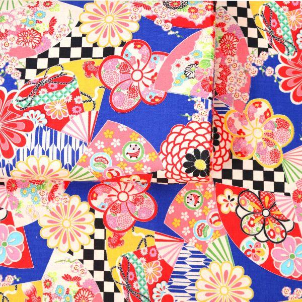 Fächer und Blumen - Blue