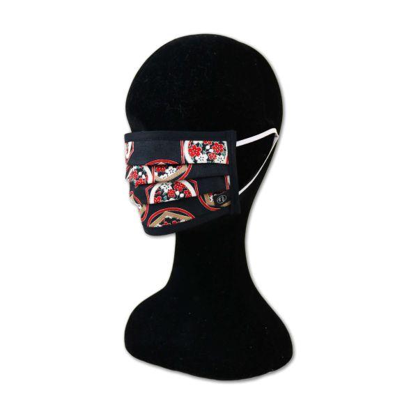 Behelfsmaske - Rokkaku ni Sakura Black - Mit Gummiband