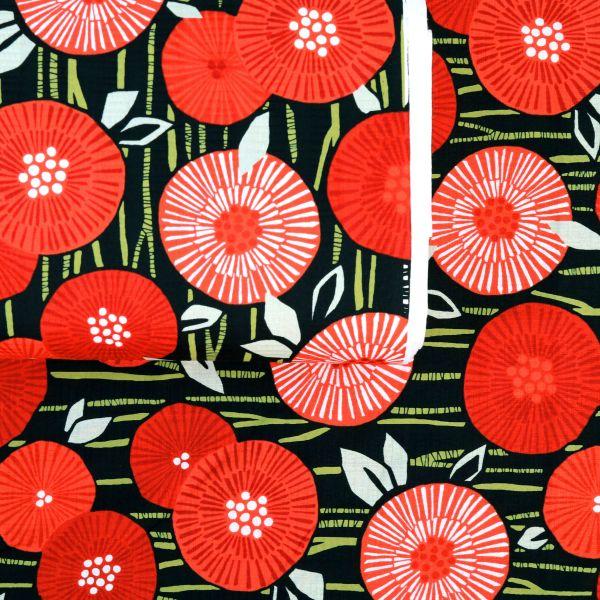 Bright Red Flowers - Black