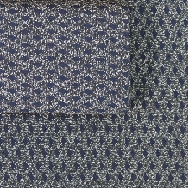 Seigaha Dotted Vintage Style - Deep Blue