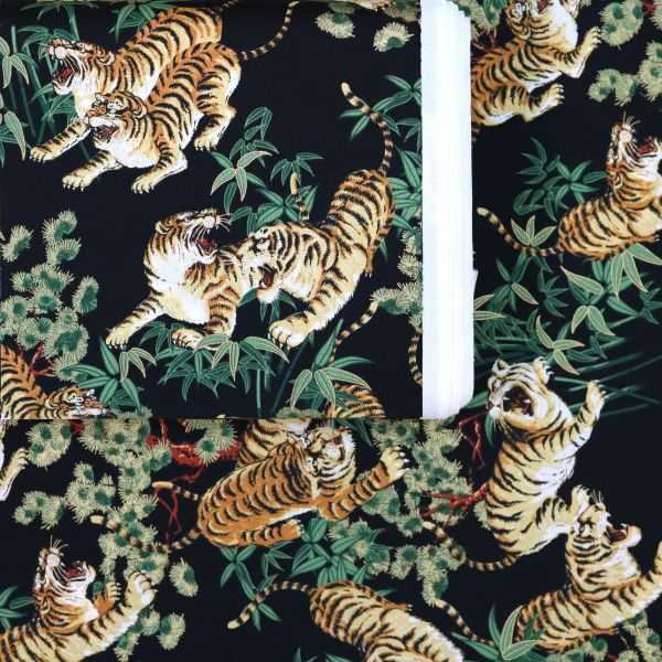 Tiger With Golden Leaves - Black
