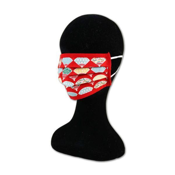 Behelfsmaske - Fächer Red - Mit Gummiband