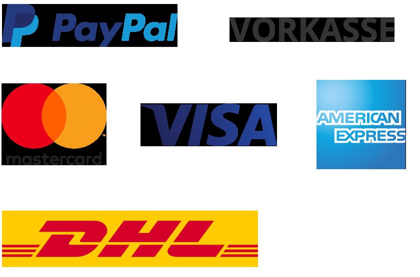 Versand- und Zahlungslogos