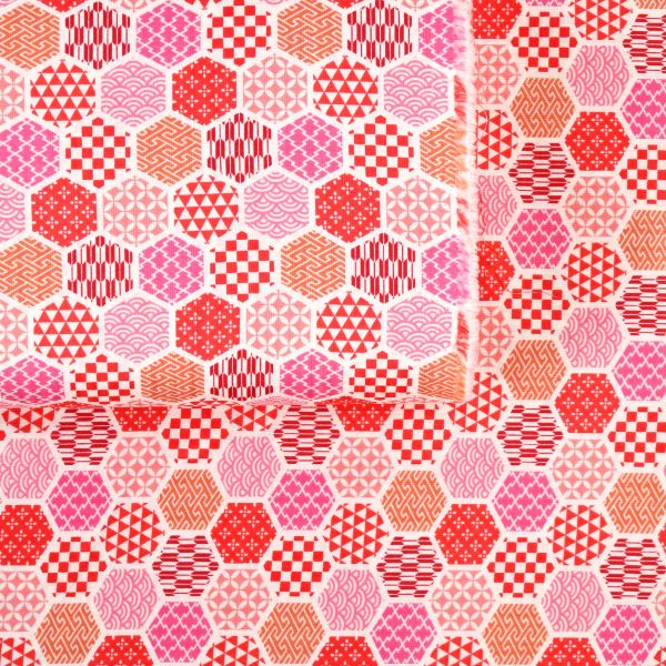Hexagon with Traditional Patterns - Red Pink
