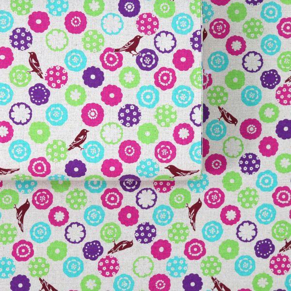Cute Birds - Echino - Pink Green