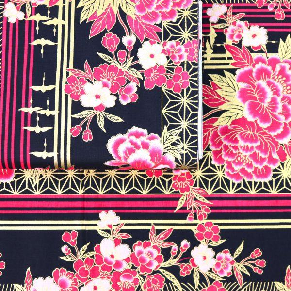 Flowers & Stripes - Black Gold