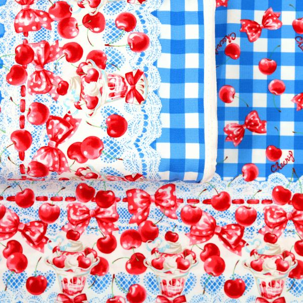Vichy Picnic with Cherrys - Blue