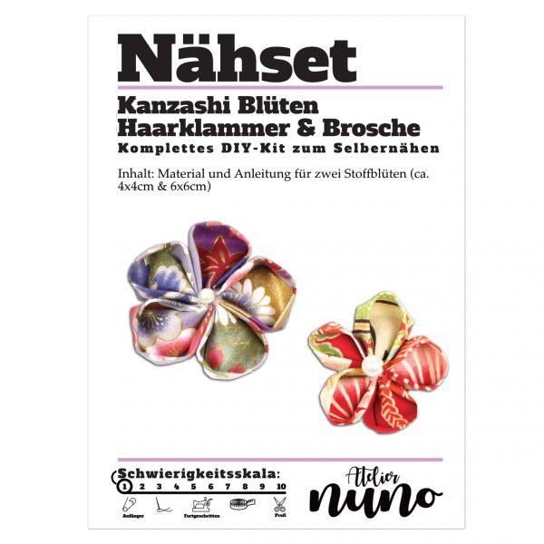 Näh-Set Kanzashi Blüten Haarklammer & Brosche