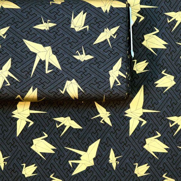 Origami Crane - Black Gold
