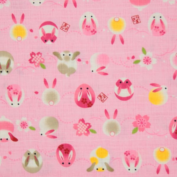 Rabbits and Cherry Blossoms - Pink