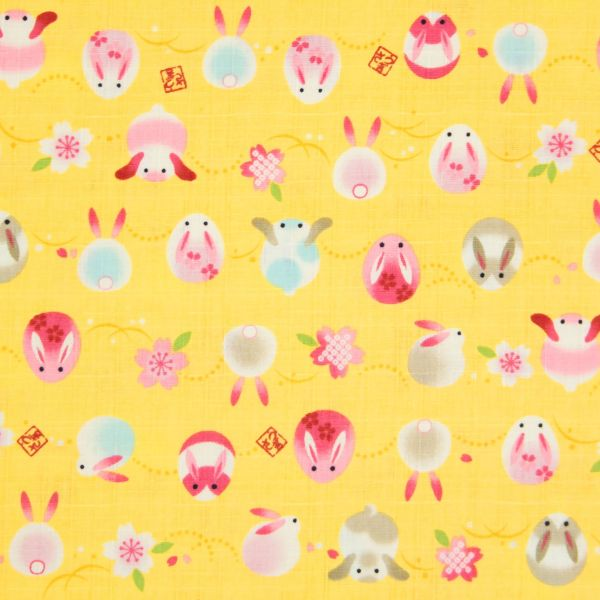Rabbits and Cherry Blossoms - Yellow