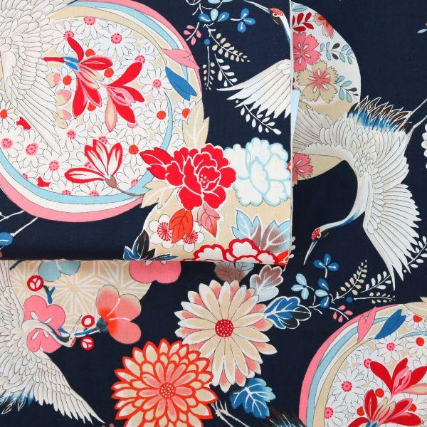 Bright Flowers with Tsuru - Black