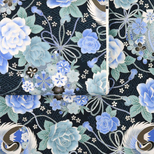 Silver Flowers - Deep Blue